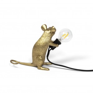 15071 GLD Mouse Lamp Gold Sitting