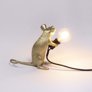 Seletti 15071 GLD Mouse Lamp Gold Sitting - фото 2