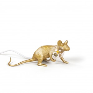 Seletti 14943 GLD Mouse Lamp Gold  Down