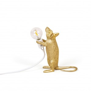 14948 GLD Mouse Lamp Gold  Standing