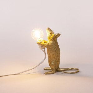 Seletti 14948 GLD Mouse Lamp Gold  Standing - фото 2