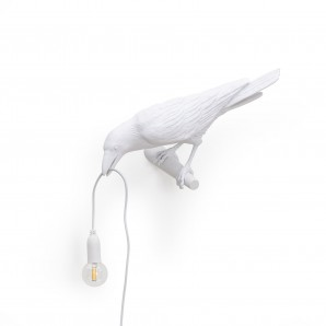 14734 Bird Lamp White Looking Left
