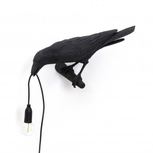 14737 Bird Lamp Black Looking Left