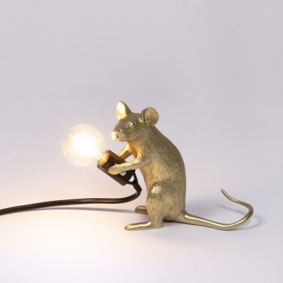Seletti 15071 GLD Mouse Lamp Gold Sitting