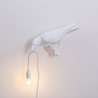 SELETTI 14734 Bird Lamp White Looking Left