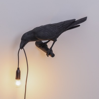 SELETTI 14737 Bird Lamp Black Looking Left Оригинал.