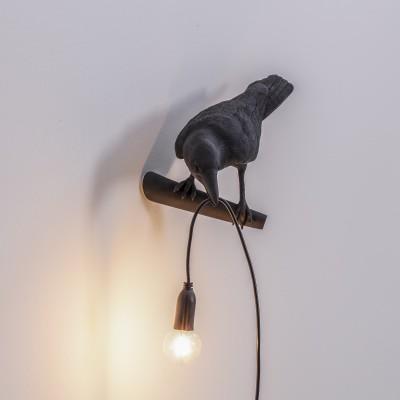 Seletti 14737 Bird Lamp Black Looking Left