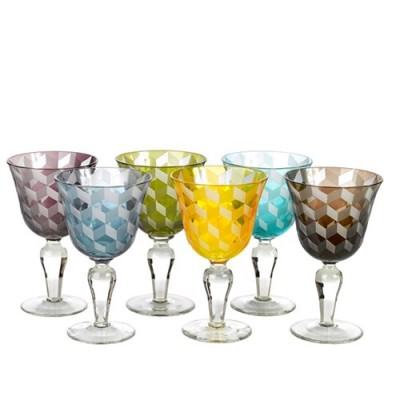 POLS POTTEN 140-230-111 wine glass blocks multicolour set 6 Оригинал